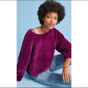 Anthro Moth | Magenta Chenille Oversized Sweater
